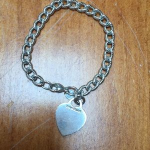 Tiffany sterling link bracelet with heart charm